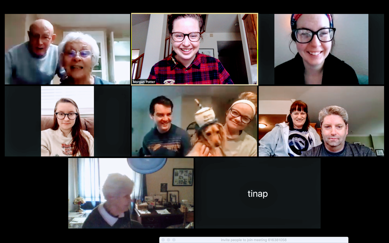 Screenshot of a Zoom birthday meeting with various family members