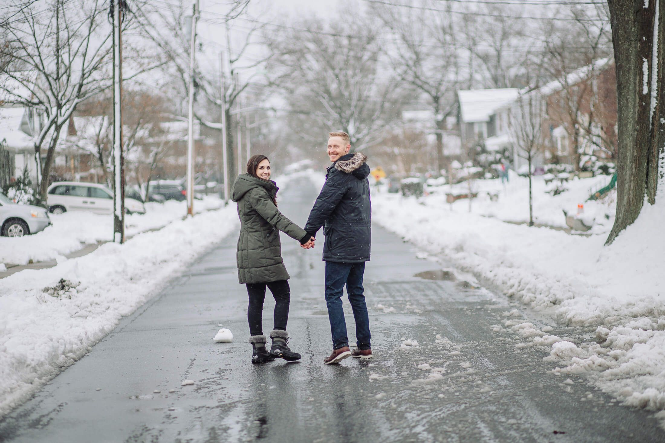 Snow winter engagement session in Collingswood, NJ.