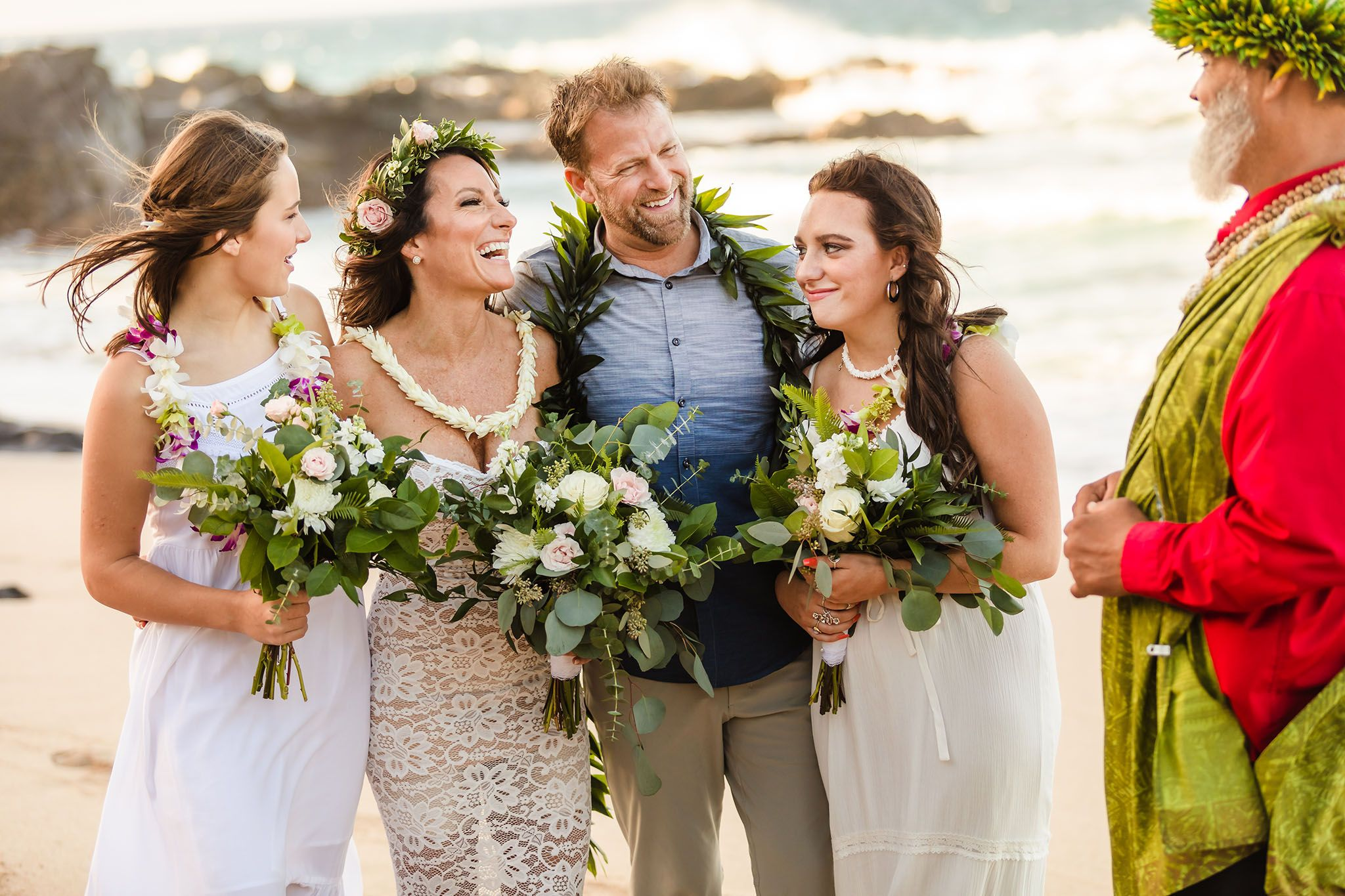 maui family beach wedding