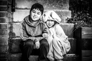 Black and white portrait of siblings