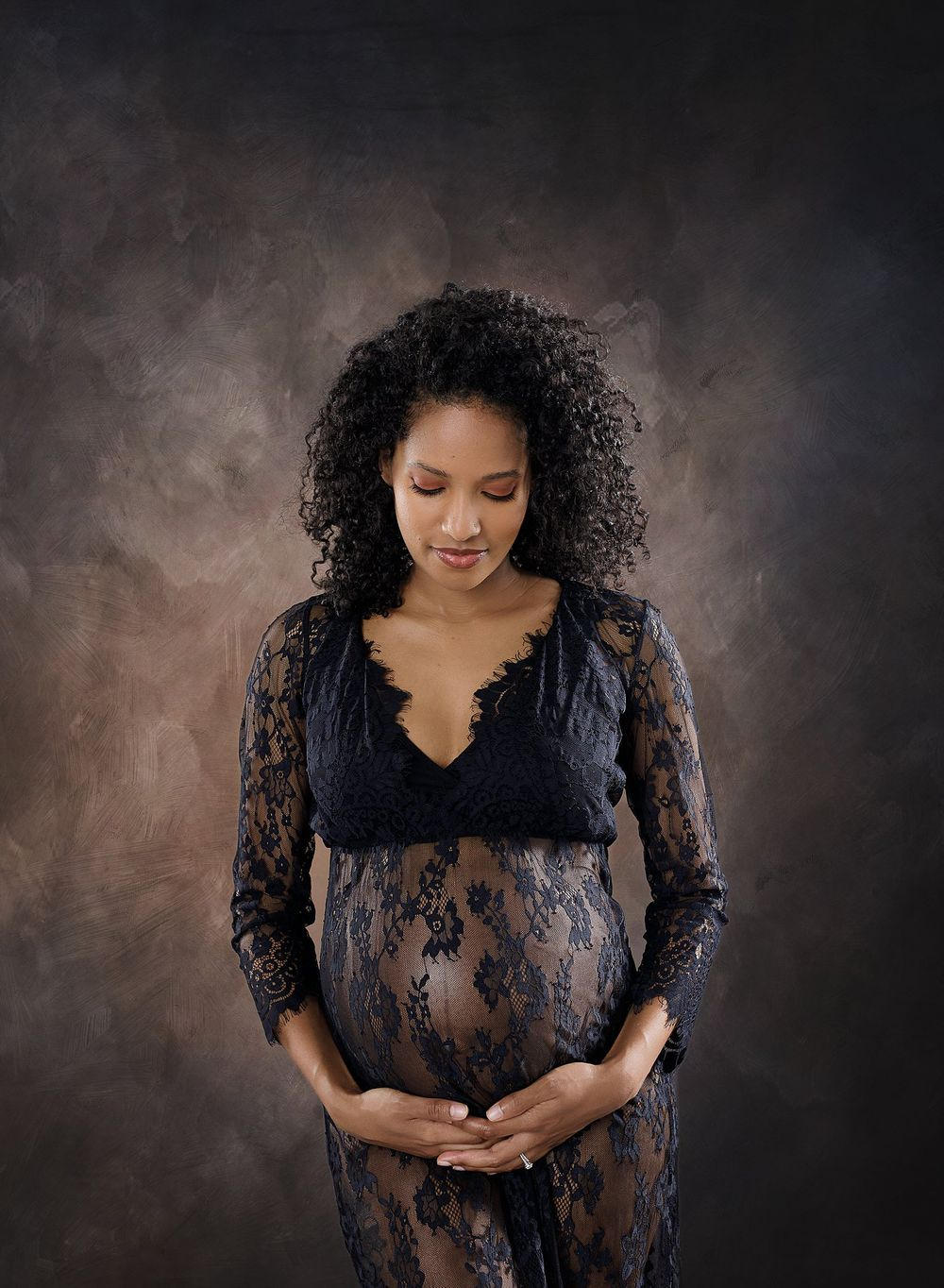 Modern Maternity portrait session Austin Maternity photography timeless black lace