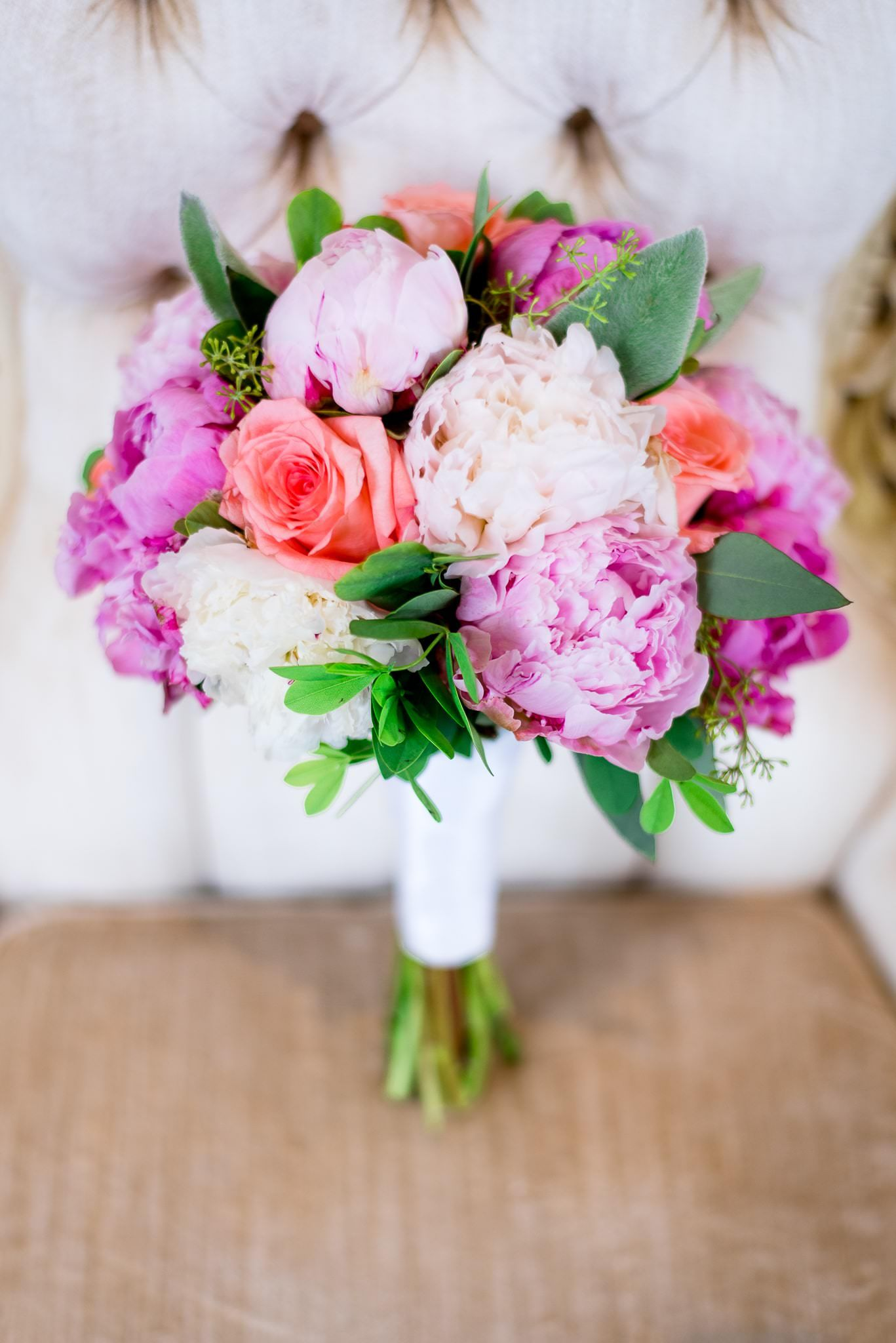 wedding bouquet with pink peonies and roses for a Chicago summer wedding