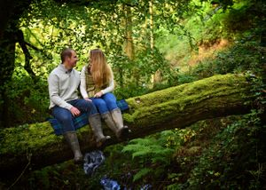 Sitting on a tree branch engagement shoot