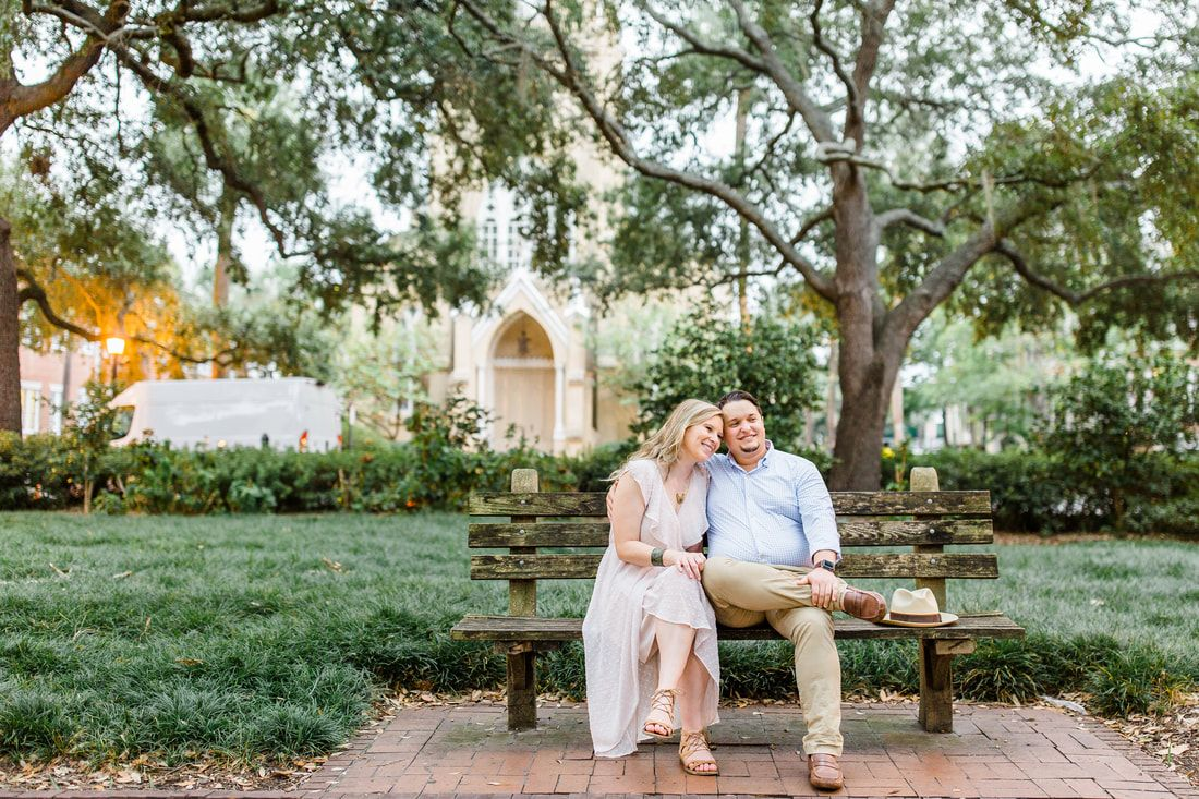 engagement session in monterey square of downtown savannah, ga