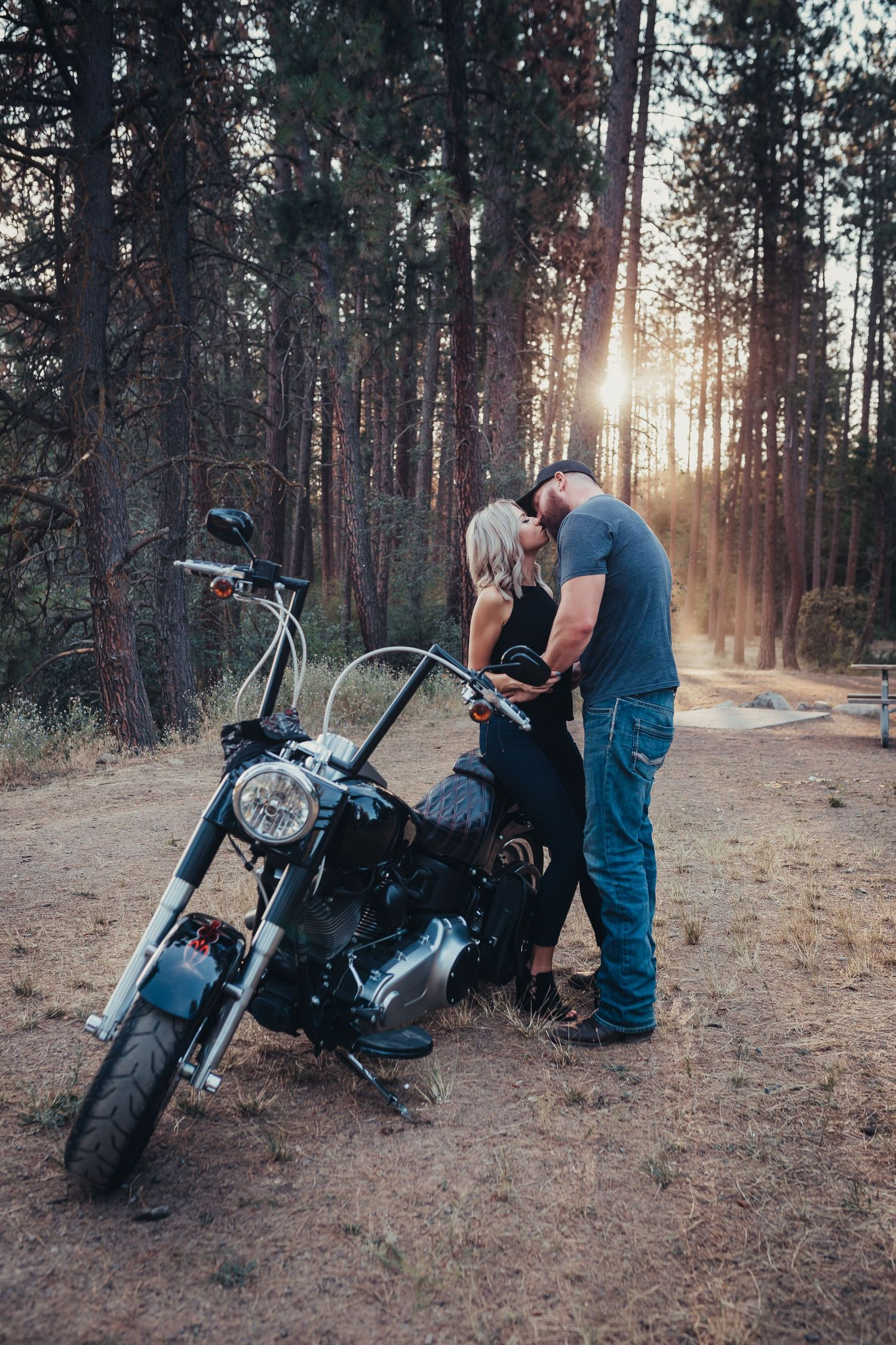 Harley Davidson couples portraits sunset sun flair Soulful Hues Photography