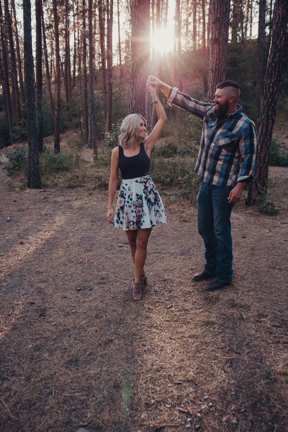 Sunset photos engagement session Corbin park post falls ID Soulful Hues Photography