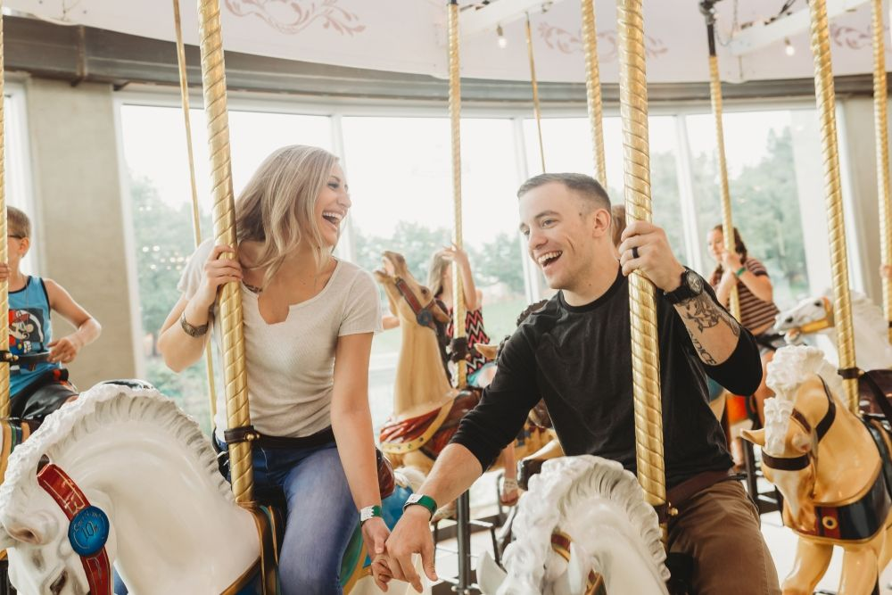 spokane loaf carousel couples engagement photo session Soulful Hues Photography river front park