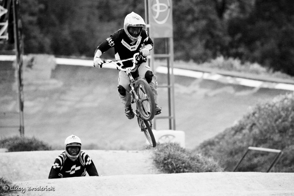 A Zimbabwean BMX rider flying through the air on the BMX track in Harare, Zimbabwe.