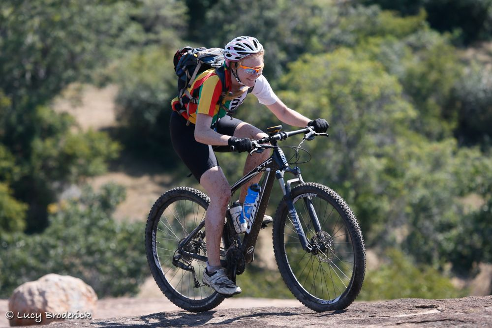 A girl riding a mountain bike in Matopos during the Ironwill Charity Eco Challenge.