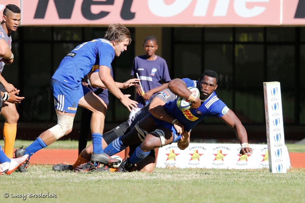 Siya Kolisi scoring a try for the DHL Stormers at a Super Rugby warm up match vs the Toyota Cheetahs, Harare, Zimbabwe