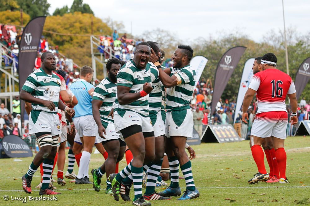 The Zimbabwe Sables celebrate scoring a try against Tunisia in the Gold Cup 2017, Harare, Zimbabwe.