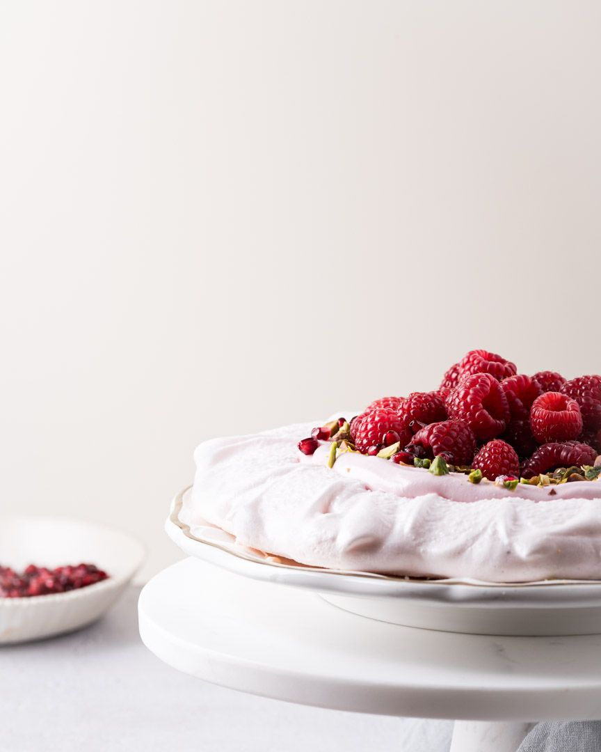 Emily Miller, Tucson, Food Photographer, Vegan Pavlova with Raspberries and Pistachio