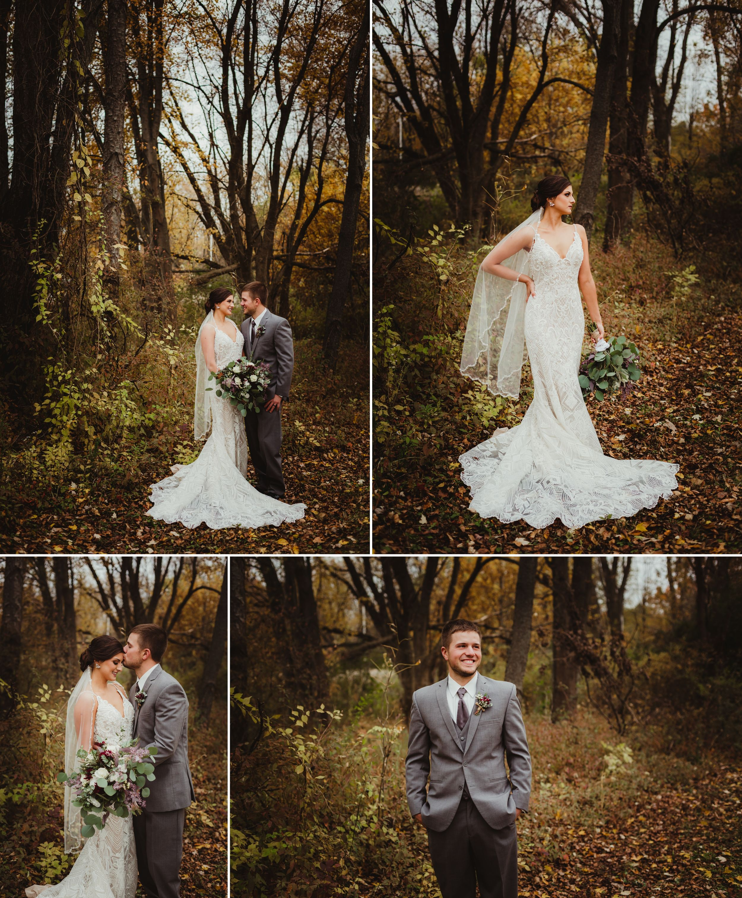 Bride and groom together and separately in various poses in front of a large tree. Bride's dress is form fitting.