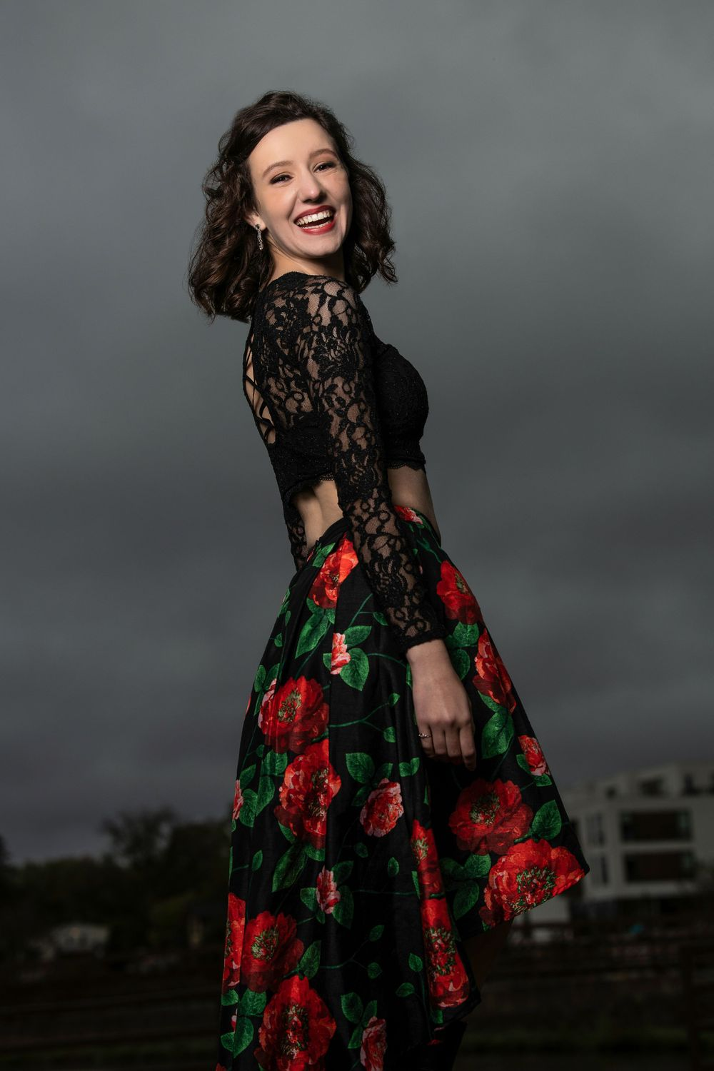 Floral prom dress, senior photos