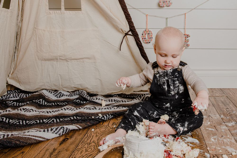 one year old boy camping tent rustic cake smash session
