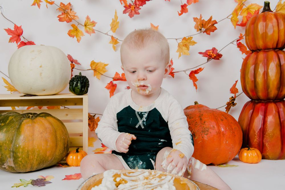 one year old boy fall orange cake smash session