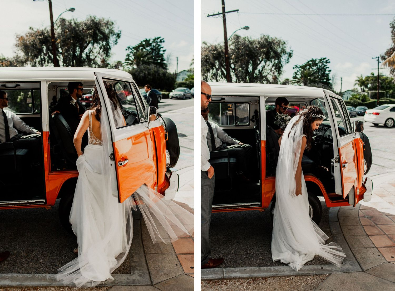 bride entering volkswagon van