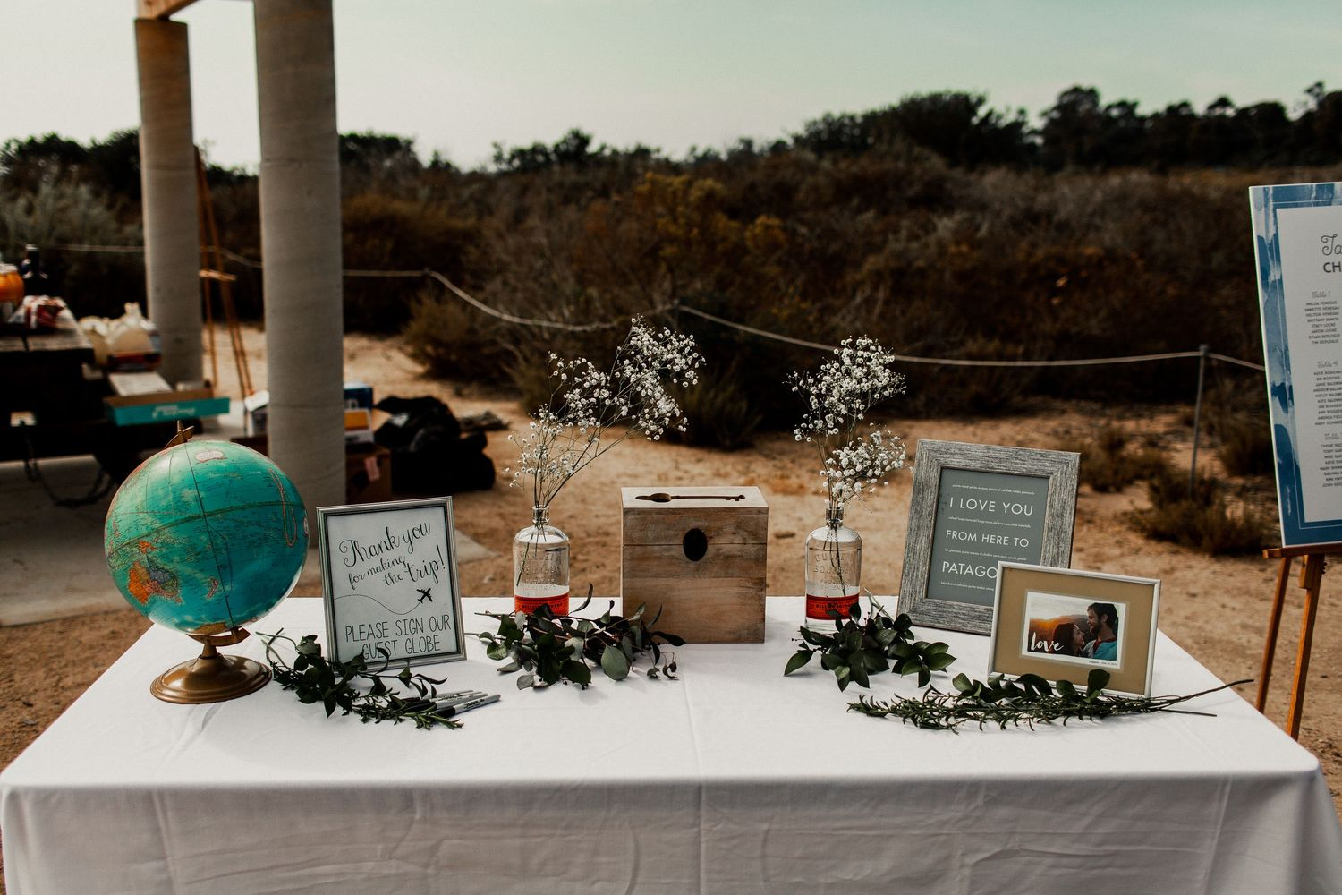reception decor setup at crystal cove picnic area