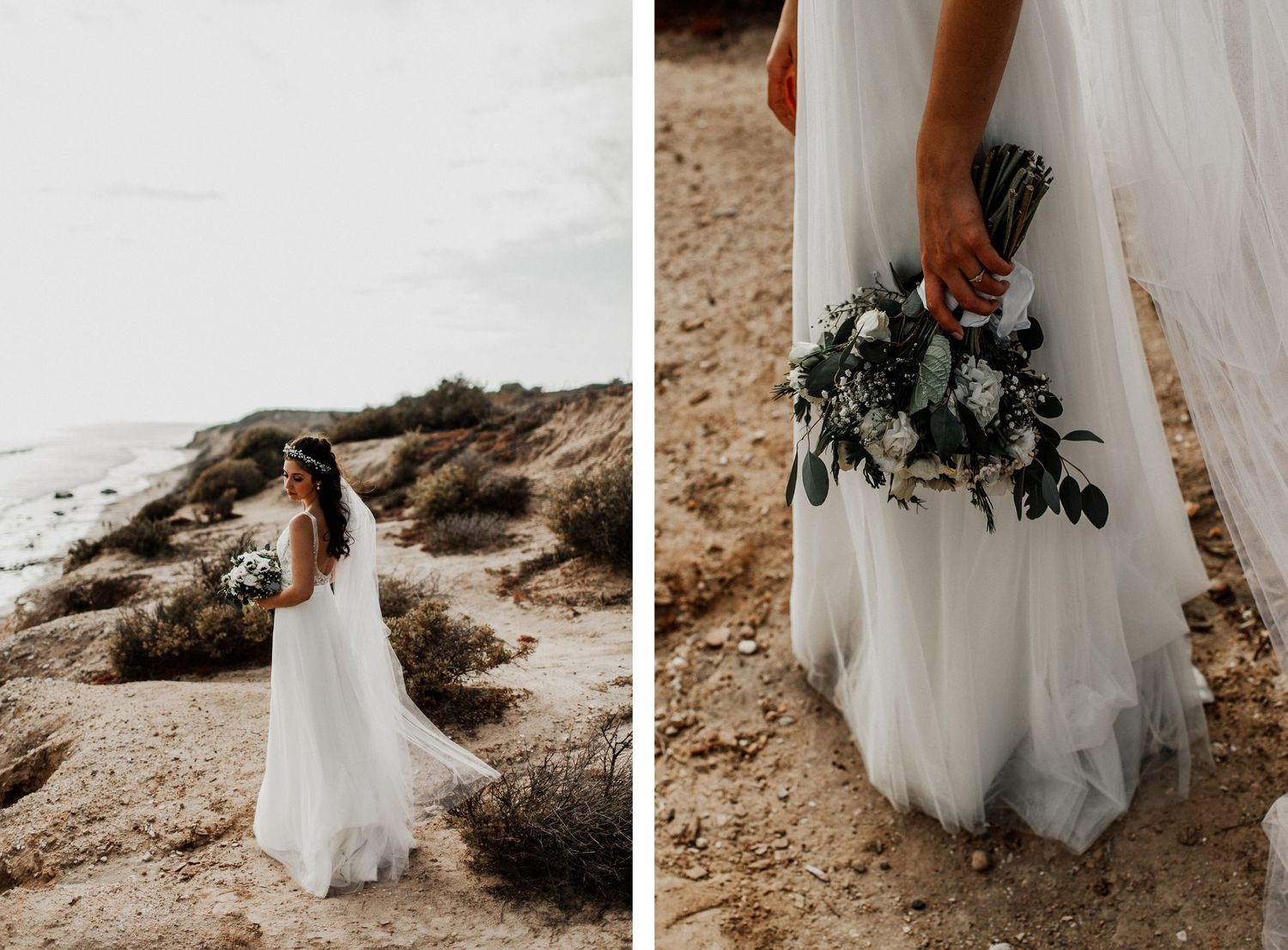 bride solo portrait at crystal cove state park