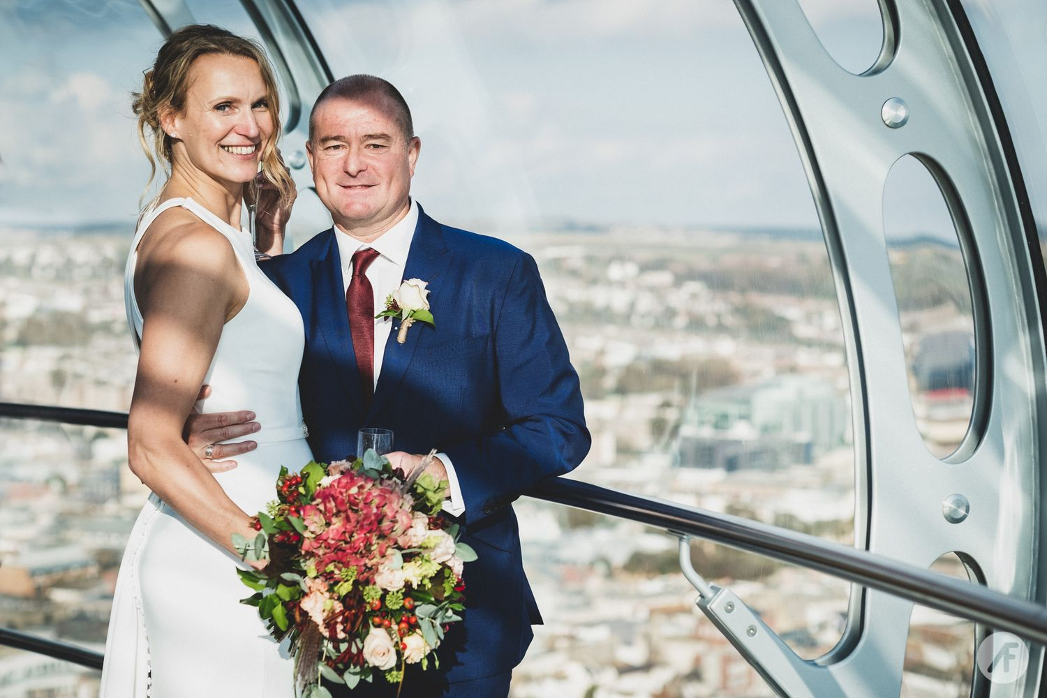 Wedding couple photo on the i360 in brighton