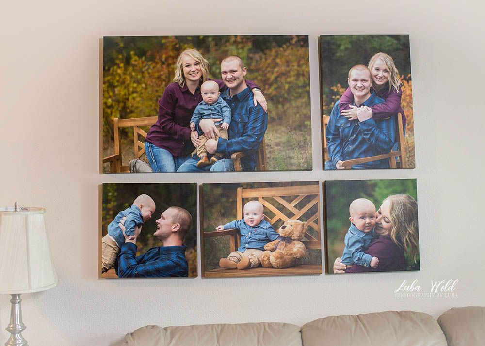 wall canvas collection of Coeur d alene family of three portraits photographer luba wold blue and burgundy