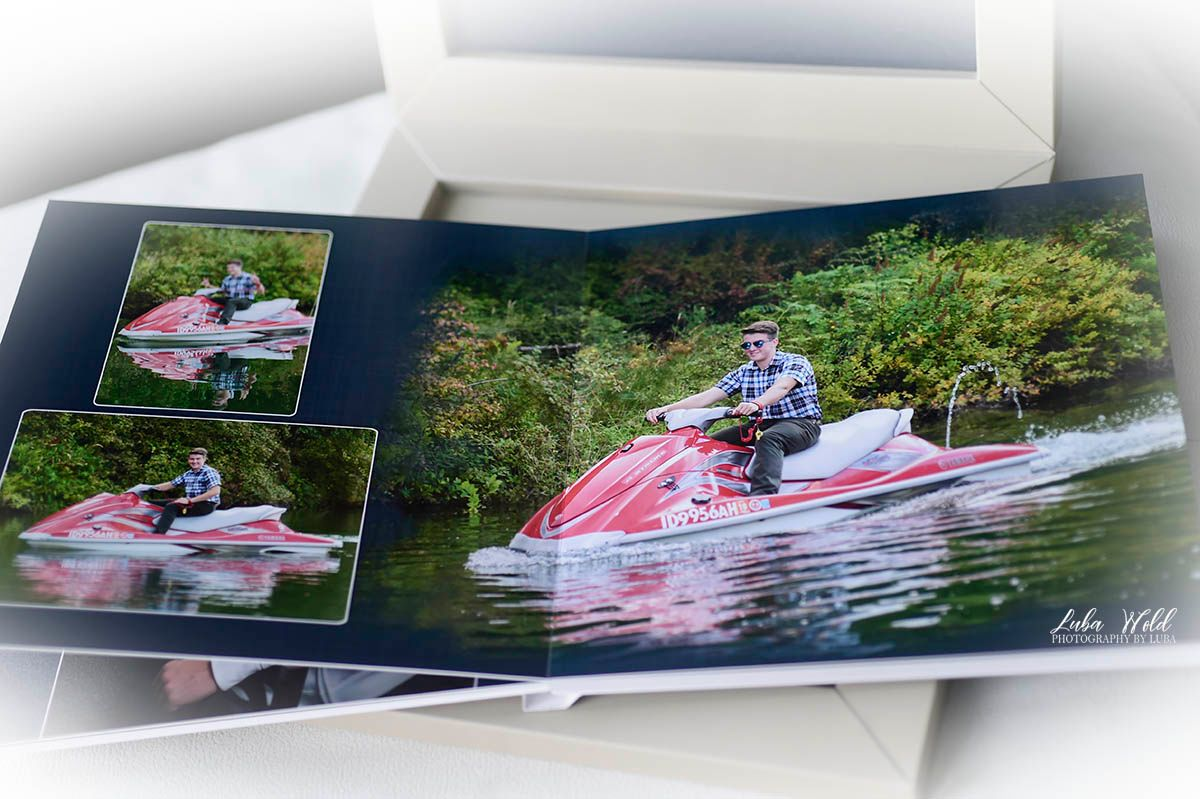 high school senior boy custom book photographer luba wold coeur d alene on jetski Spokane river