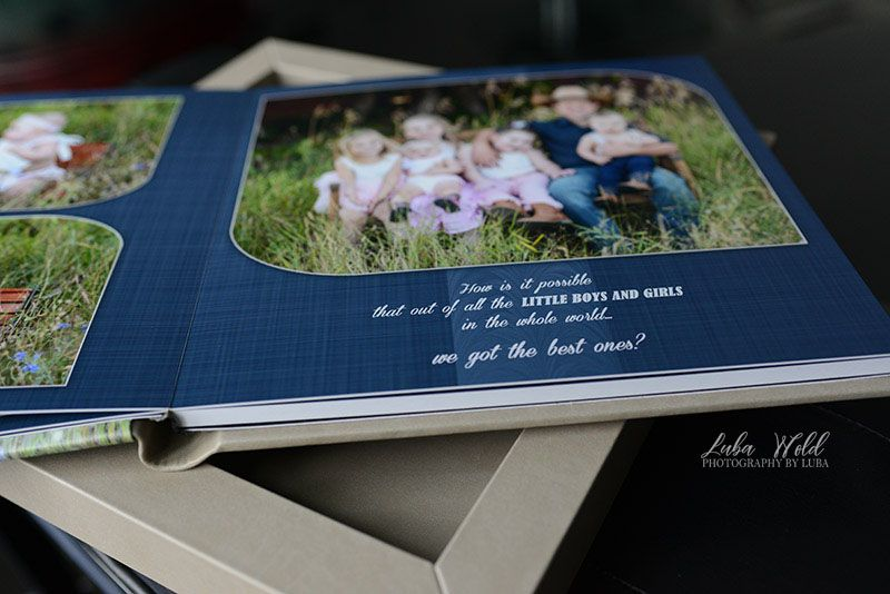 book page Spokane family of eight children portraits photographer luba wold pink blue