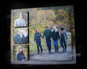 wall portrait family of four walking fall outdoor photographer luba wold in Post Falls Idaho