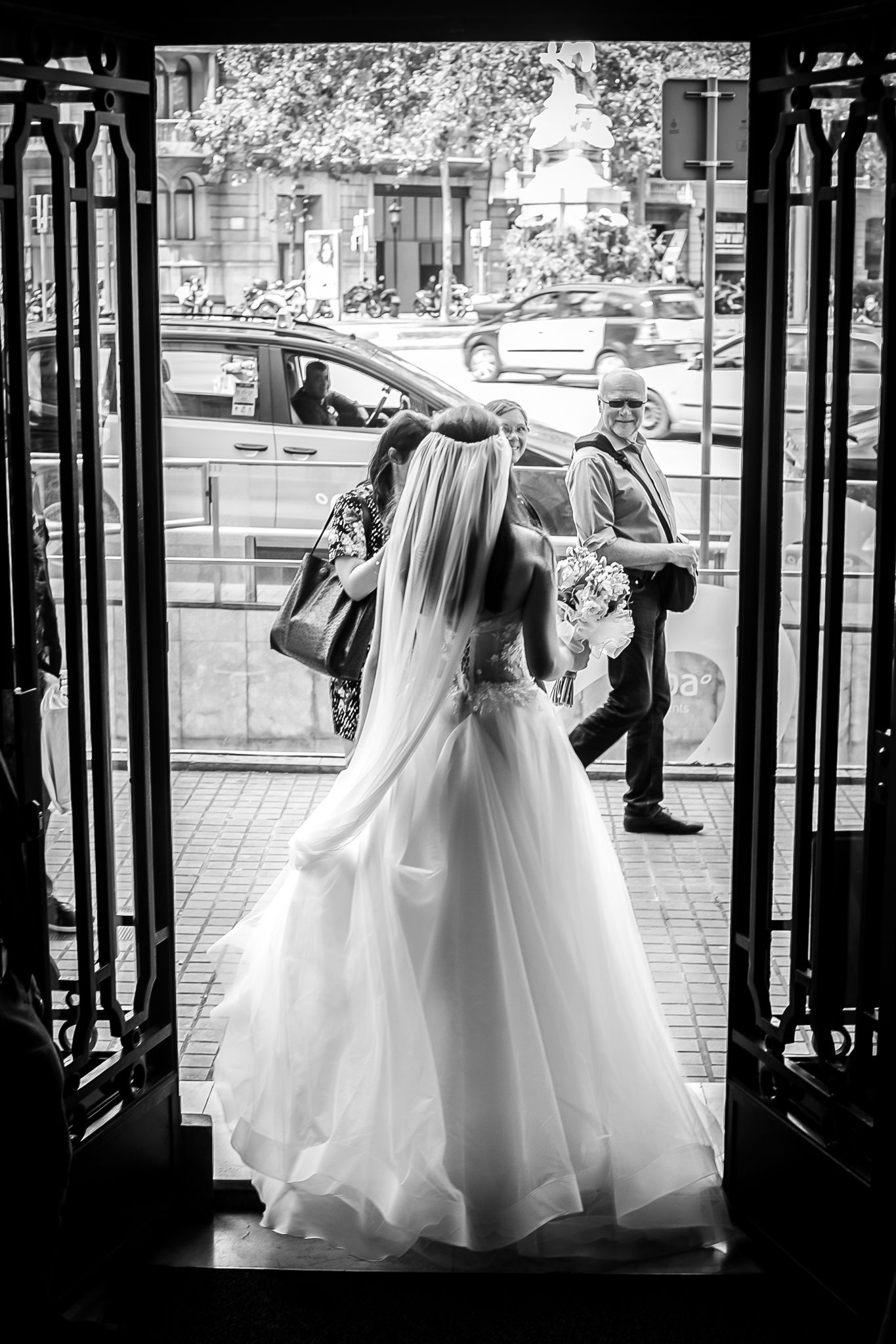 Back of bride's dress in Barcelona