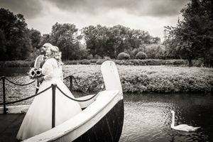Bride and Groom on the boat at De Vere Oxford Thames