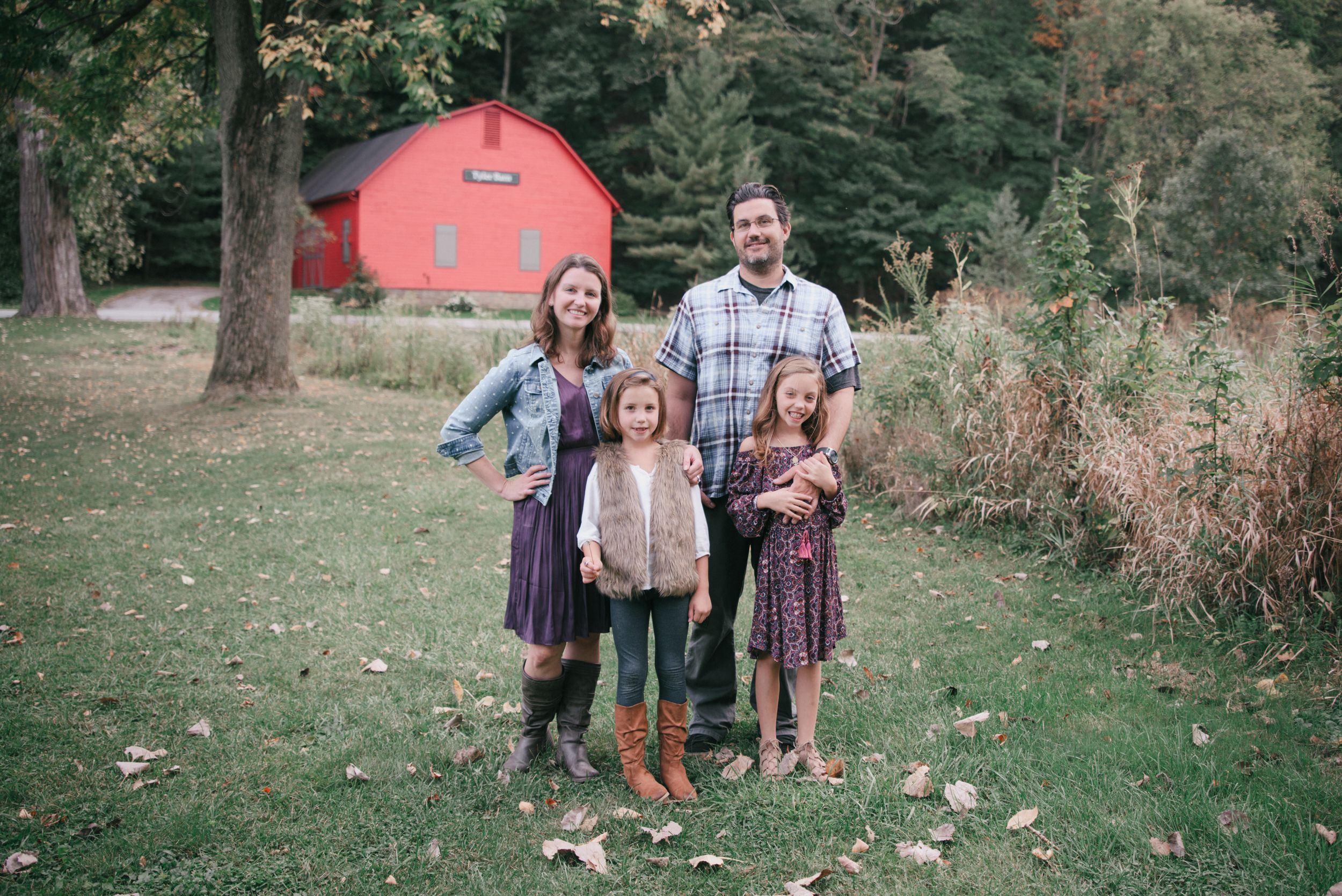 family at Tyler Barn, Rocky River Metroparks, Ohio