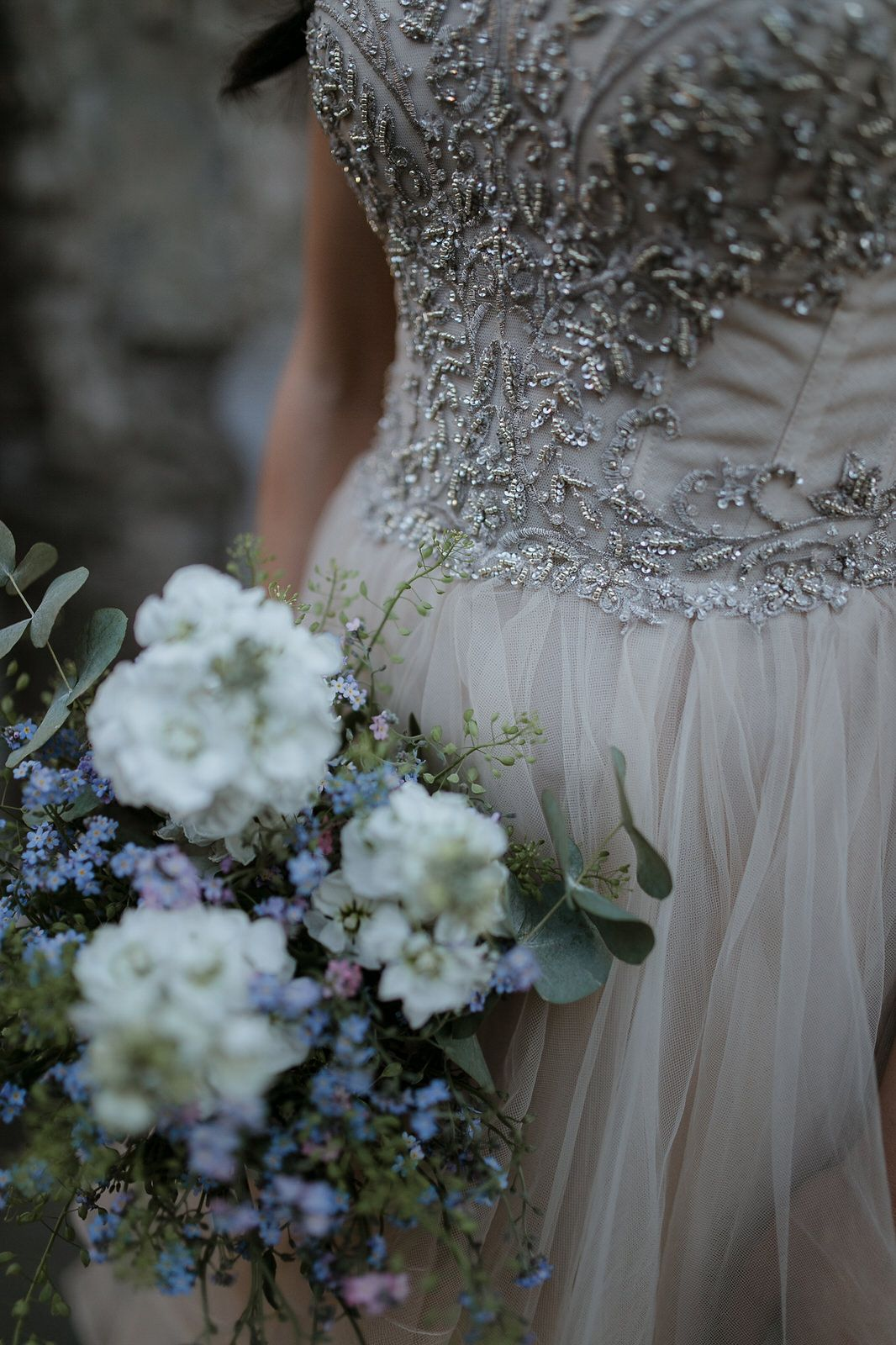 Watters wedding dress details and romantic bouquet