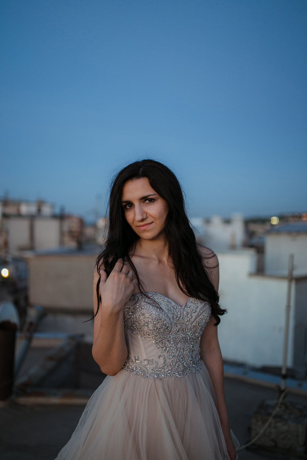 Beautiful bride portrait on a rooftop