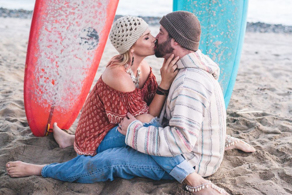 Photo of a couple on the beach in San Clemente, CA