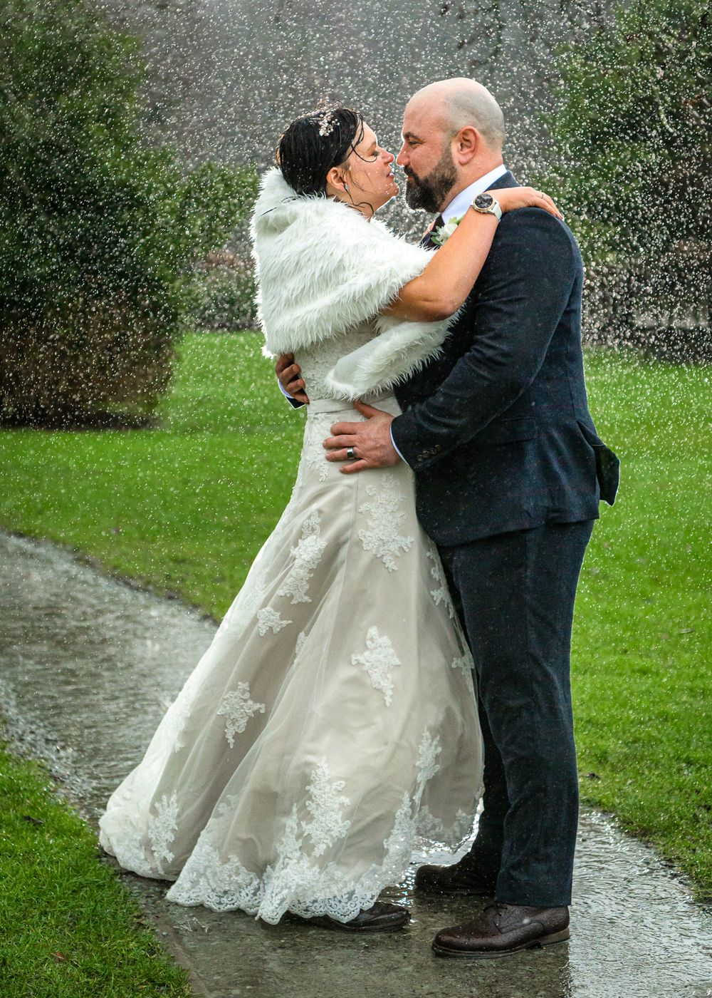 Bride and groom portrait in Lake District during storm Dennis