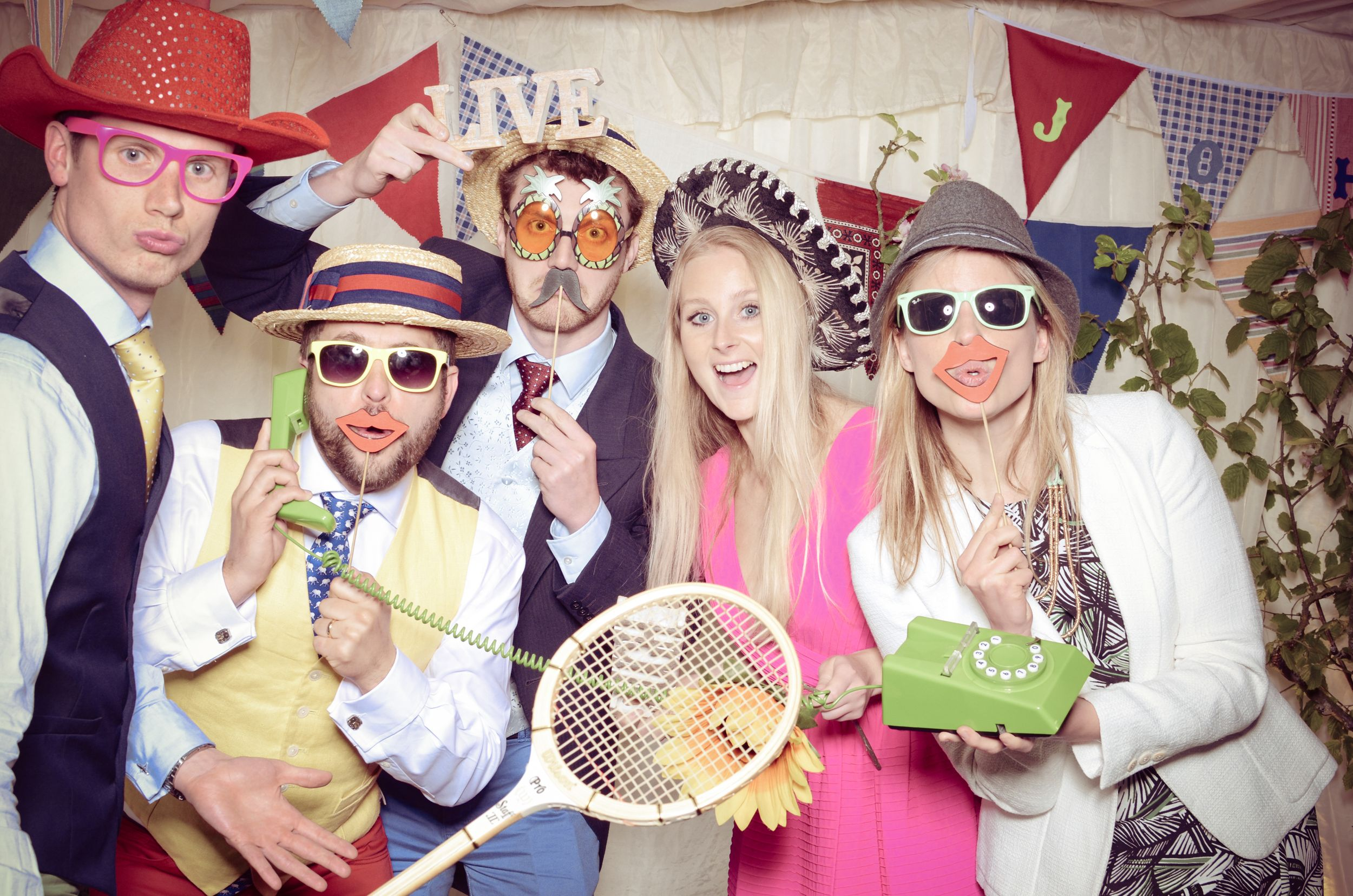 Wedding Guests Photo Vintage Booth Oxfordshire