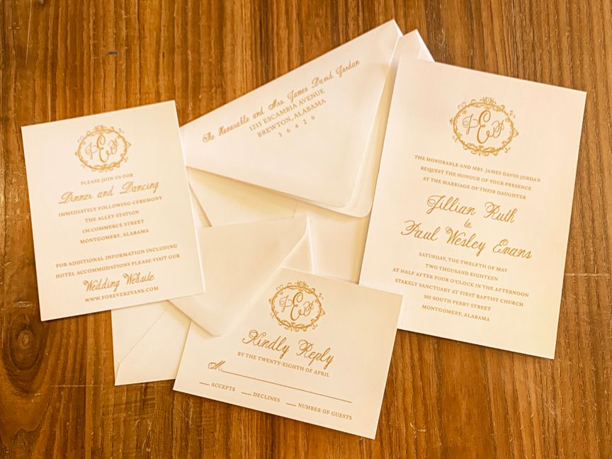 Thermography Printed Wedding Invitaitons