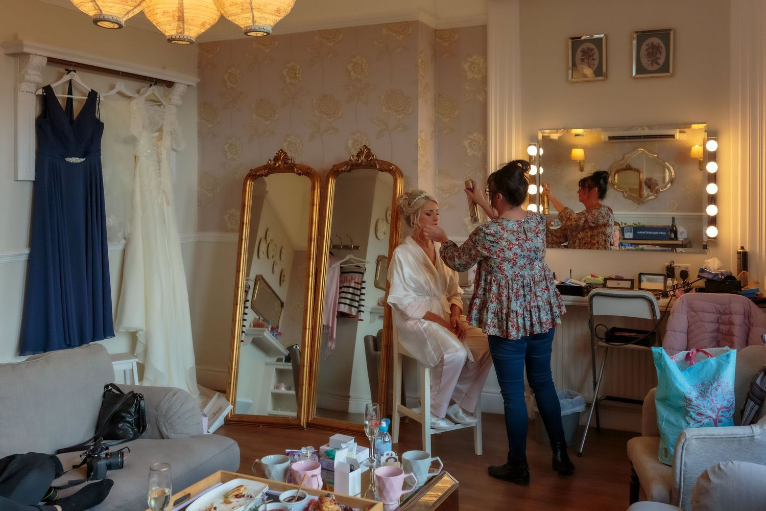 wide shot of the bridal prep in one of the suites at ashfield house wigan