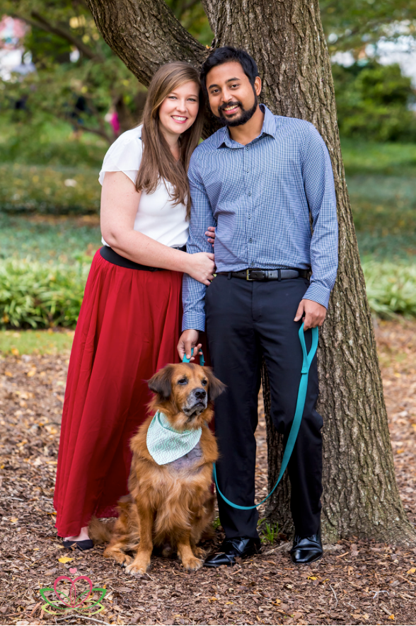 Engagement portrait with dog at the State House in Columbia, SC
