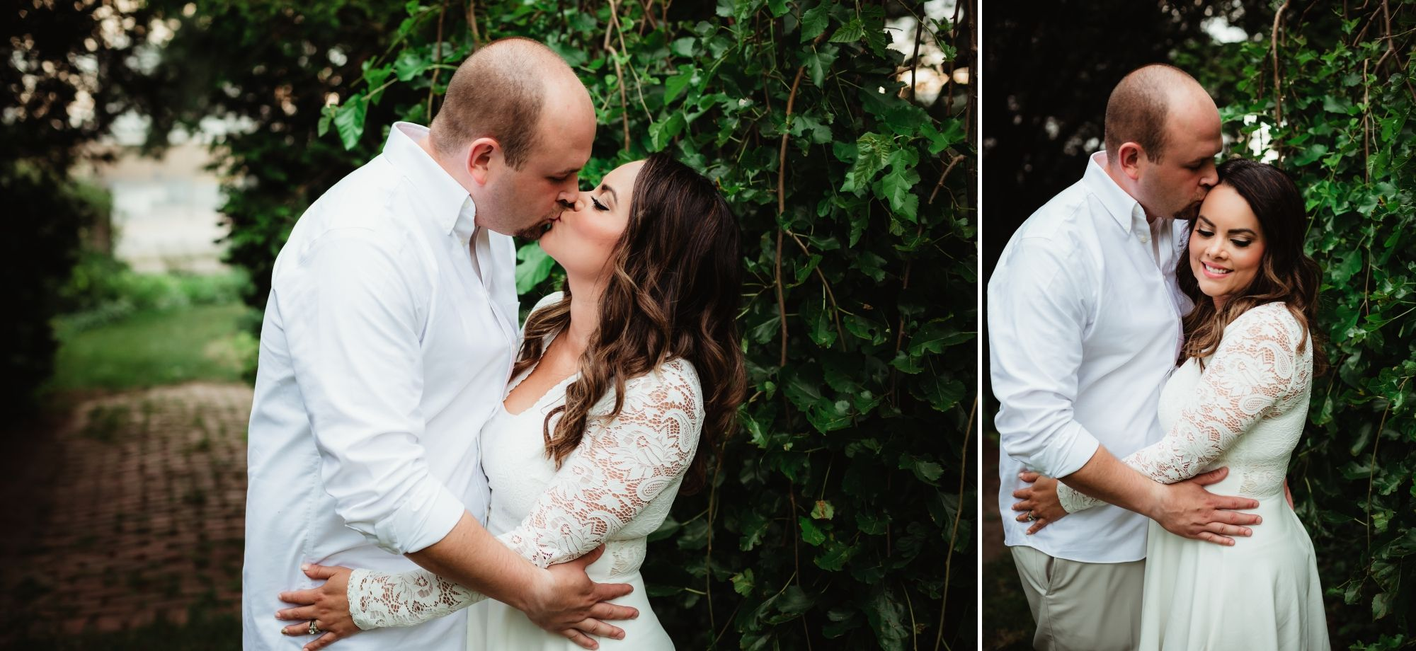 A husband and wife wearing white kissing and embracing in Cooley Gardens.