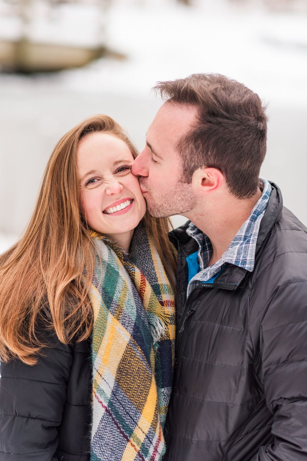 Winter and snow couple engagement in Harrisonburg Virginia