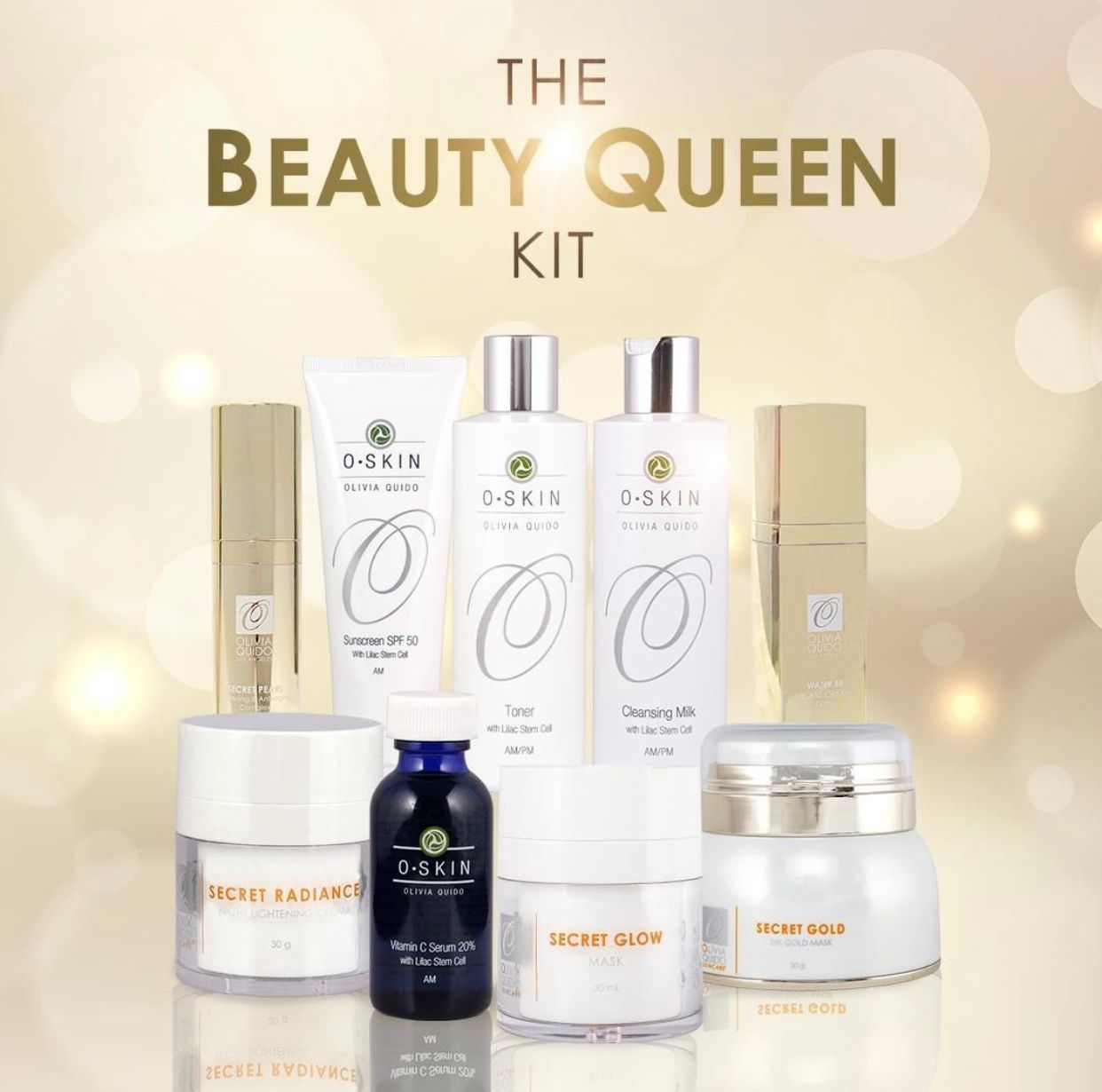 """Beauty Queen"" kit, cleansing milk, active moisturizer, sunblock and signature products Secret Glow and 24K Gold Mask"