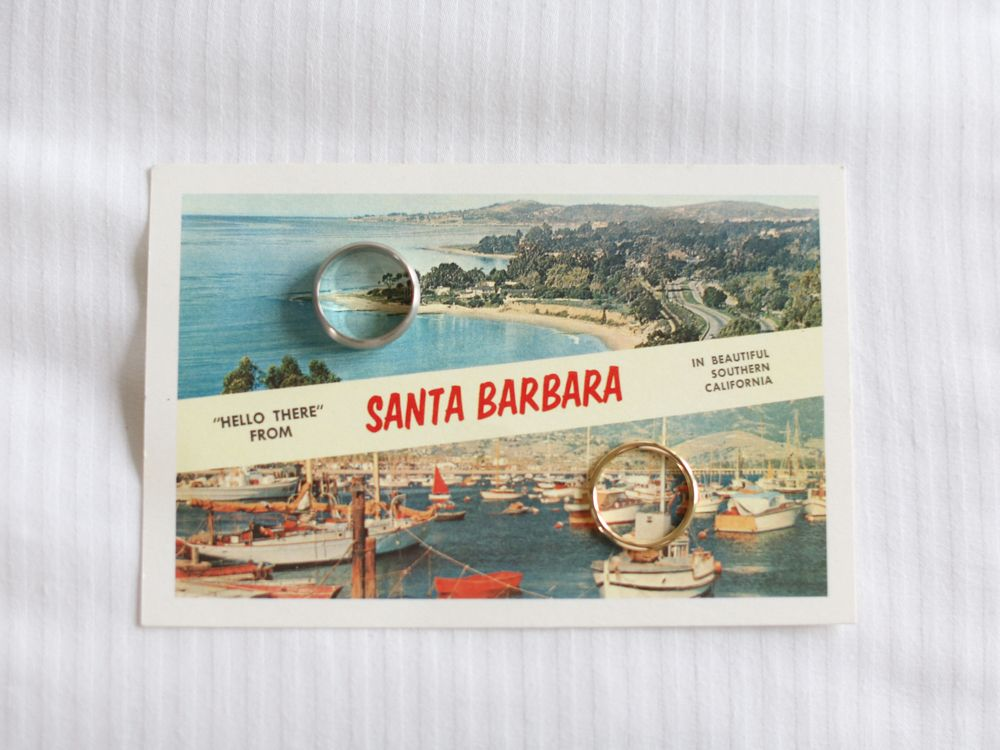 Santa Barbara California wedding Photographers Aaron Snow Photography rings post card