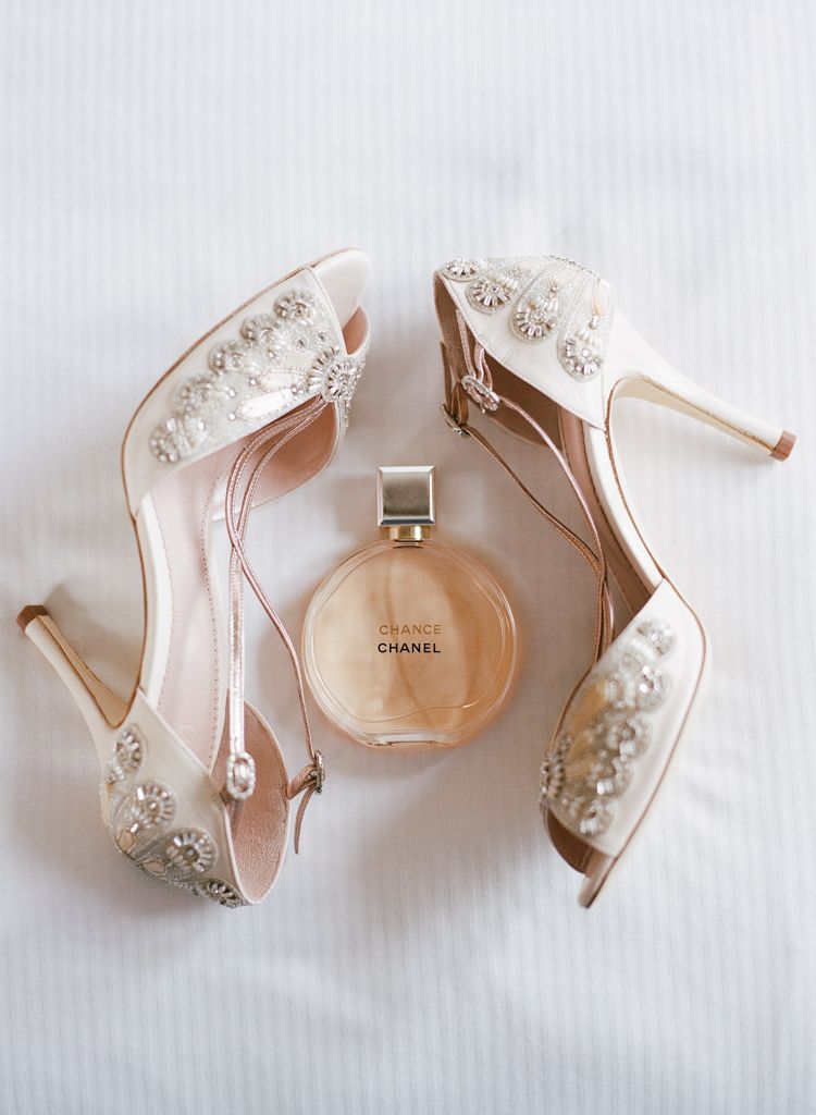Santa Barbara California wedding Photographers Aaron Snow Photography bride shoes perfume details wedding