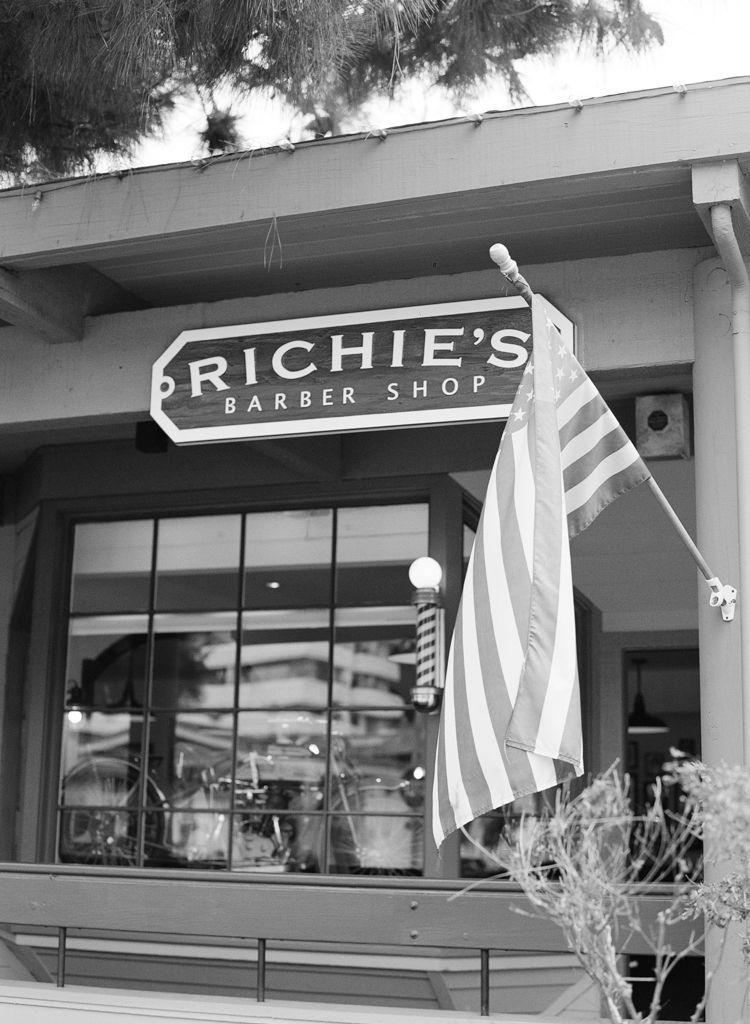 Santa Barbara California wedding Photographers Aaron Snow Photography Richies Barber Shop shave