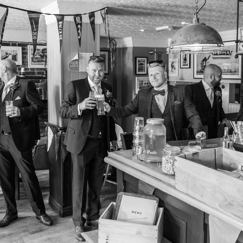 groom in the pub before the wedding, Robert Nelson Wedding Photography