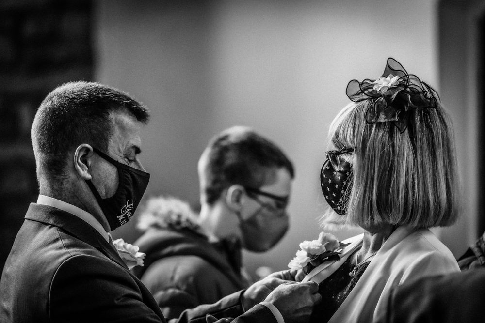 Black and white photo of  COVID wedding in Manchester