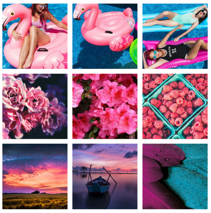 Instagram grid with bright colorful aesthetic
