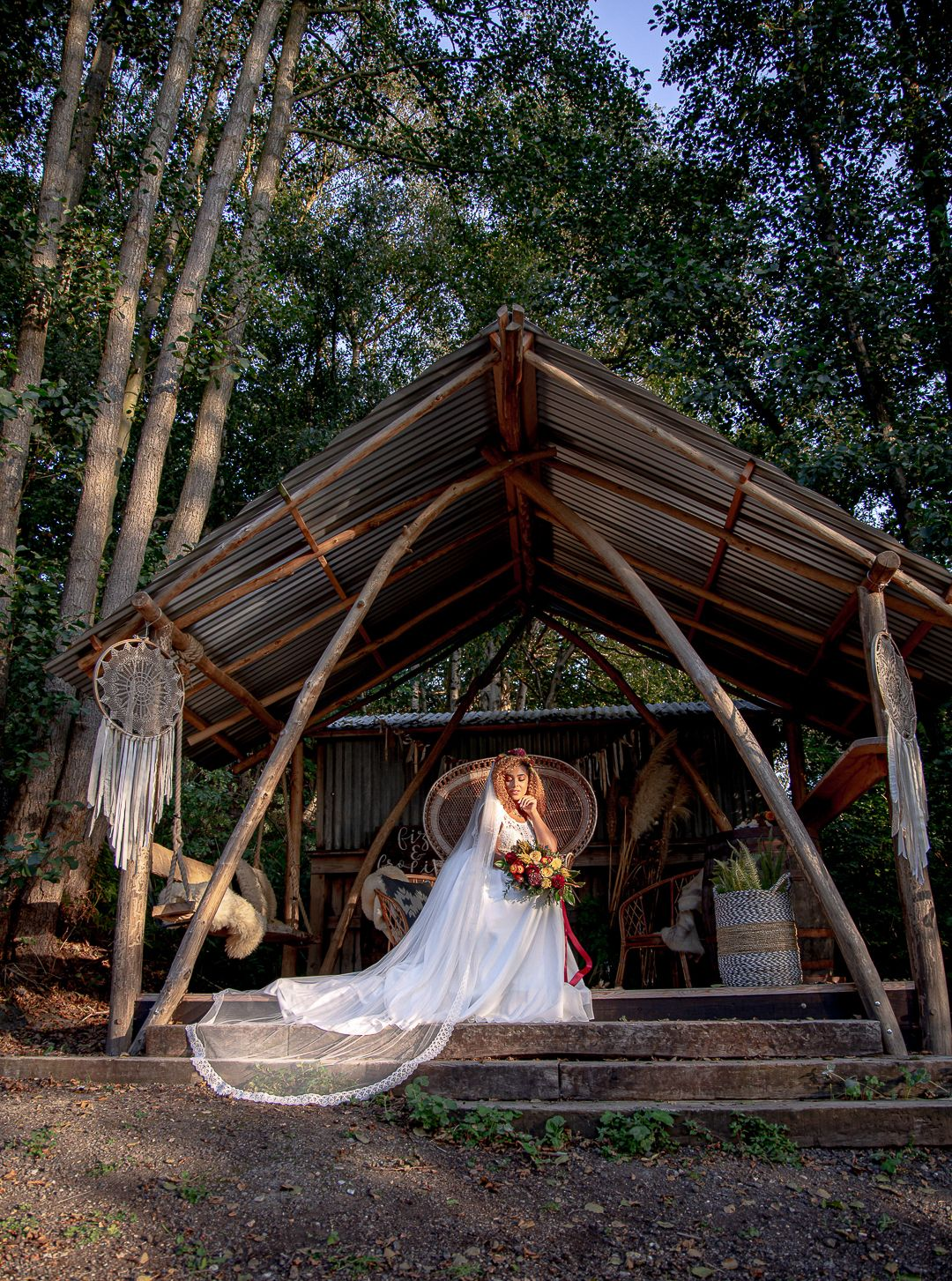 Bride and Groom in a hut at a festival wedding