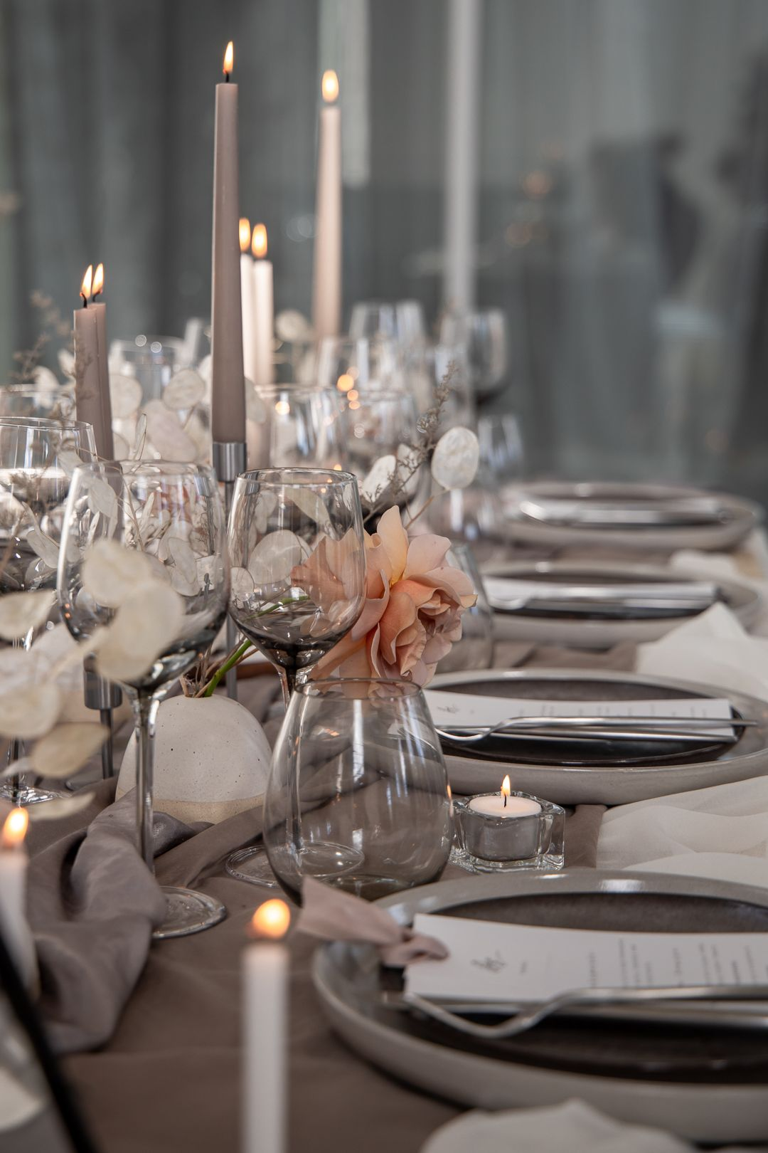 Reception table at a modern wedding